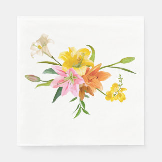 Floral Orange White & Yellow Lily Flowers Disposable Napkin