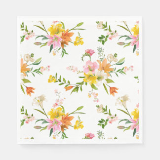 Floral Orange White & Yellow Lily Flowers Paper Napkin