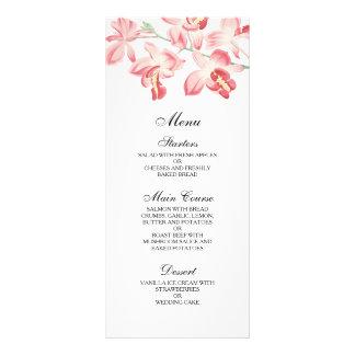 Floral orchid elegant modern wedding menu full colour rack card