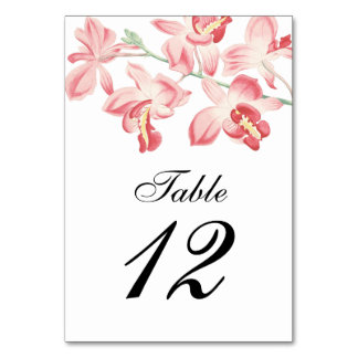 Floral orchid elegant modern wedding table numbers table card