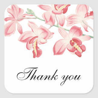 Floral orchid pink thank you wedding sticker