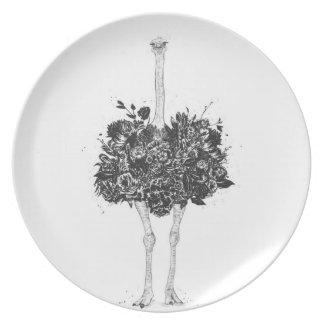 Floral ostrich plate
