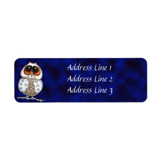 Floral Owl Return Address Label