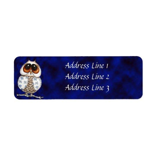 Floral Owl Return Address Label
