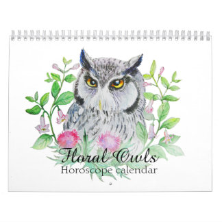 Floral owls Your flower horoscope sign Wall Calendars