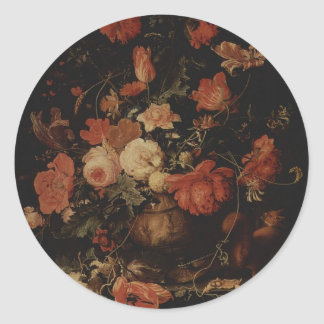 Floral painting by Abraham Mignon Round Sticker