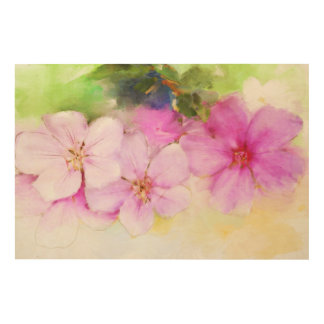 Floral painting wood wall art