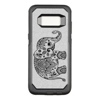 Floral Paisley Cute Black Elephant Illustration OtterBox Commuter Samsung Galaxy S8 Case