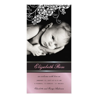 Floral Paisley Flower Baby Girl Birth Announcement Card