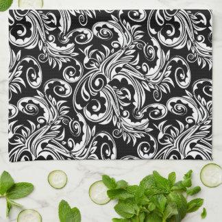Floral paisley pattern black white kitchen towel