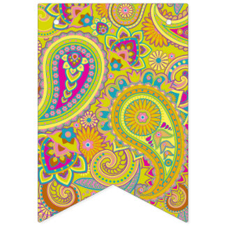 Floral Paisley seamless pattern I + your ideas Bunting Flags