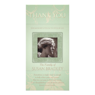 Floral Pale Green Template Sympathy Thank You P Customized Photo Card