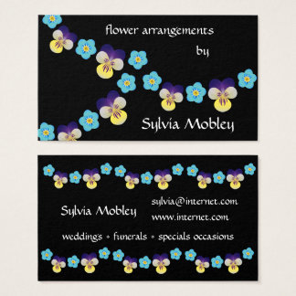 Floral Pansy and Forget Me Not on Black Business Card