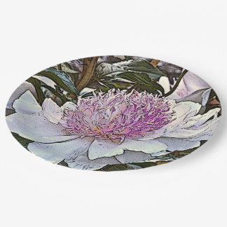 "FLORAL PAPER PLATES/""DO TELL"" WHITE AND PINK PEONY 9 INCH PAPER PLATE"
