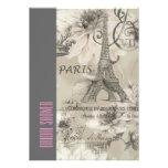 floral paris eiffel tower vintage bridal shower card