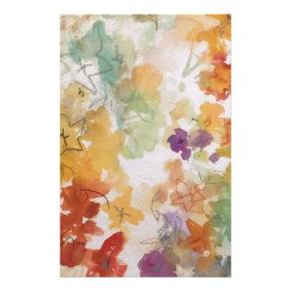 Floral pastels in pencil outline stationery design