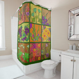 floral patchwork shower curtain