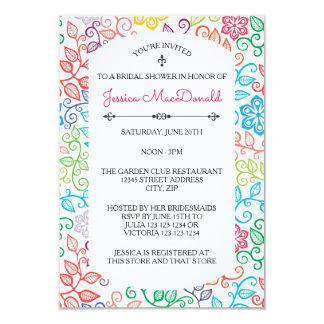 Floral Pattern - 3x5 Bridal Shower Invitation
