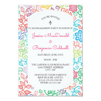 Floral Pattern - 3x5 Engagement Party Invitation