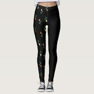 Floral Pattern Black Asymmetric Leggings