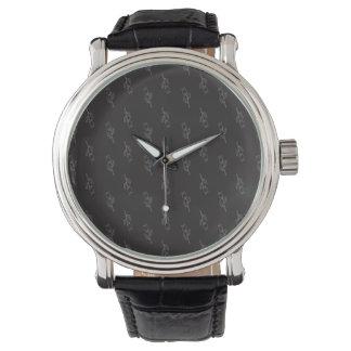 Floral Pattern Black Classy Elegant Dandy for Him Watch