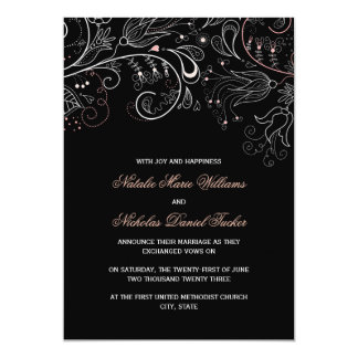 Floral Pattern Black w/Tulip- Wedding Announcement