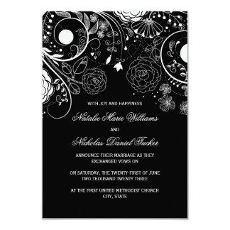 Floral Pattern Black/White-3x5Wedding Announcement