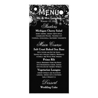 Floral Pattern Black/White - Reception Menu Rack Cards