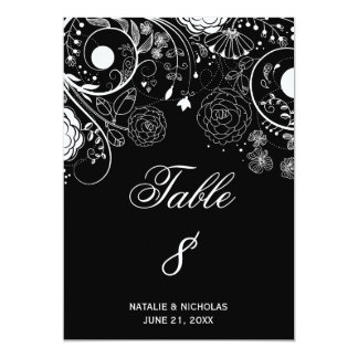 Floral Pattern Black/White - Table Number Card