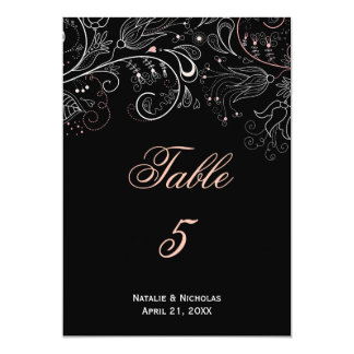 Floral Pattern Black/White Tulip - Table Number Card