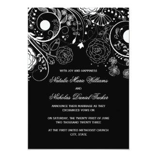 Floral Pattern Black/White - Wedding Announcement