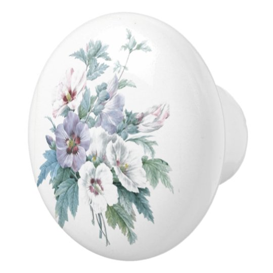 Floral Pattern Bouquet of Rose of Sharon Redouté Ceramic Knob