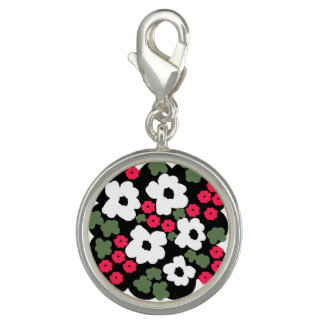 Floral pattern clip on charm