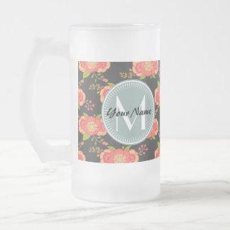 Floral Pattern Custom Monogram 16 Oz Frosted Glass Beer Mug