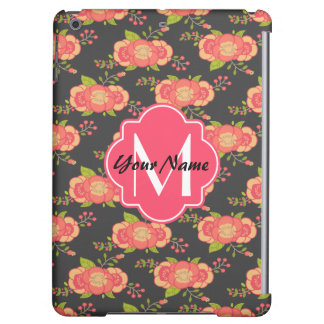 Floral Pattern Custom Monogram iPad Air Cover