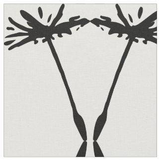 floral pattern dandelion seed black and white fabric