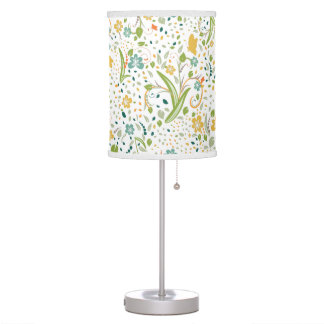 Floral Pattern Design With Yellow Butterflies Table Lamp
