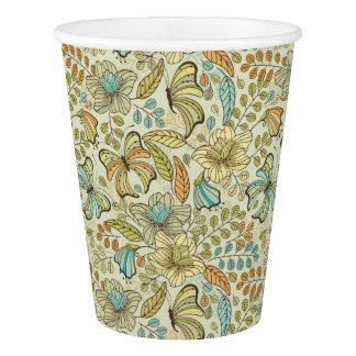 Floral pattern: flowers and butterflies paper cup