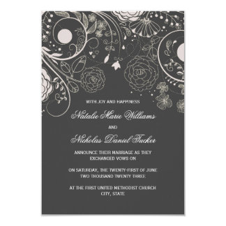 Floral Pattern Gray - 3x5 Wedding Announcement