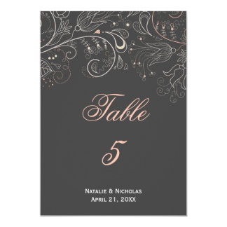 Floral Pattern Gray Tulip - Table Number