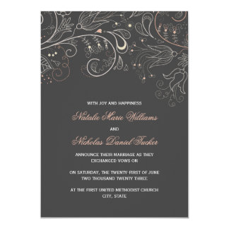 Floral Pattern Gray w/Tulip- Wedding Announcement