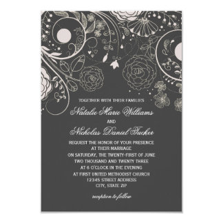 Floral Pattern Gray/White - 3x5 Wedding Invitation