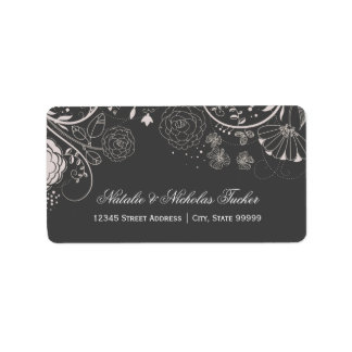 Floral Pattern Gray/White - Address Labels