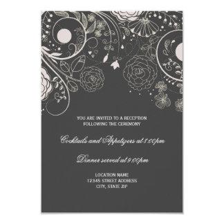 Floral Pattern Gray/White - Reception Invitation