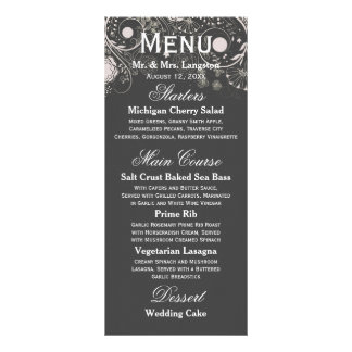 Floral Pattern Gray/White - Reception Menu Full Color Rack Card