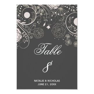 Floral Pattern Gray/White - Table Number Card