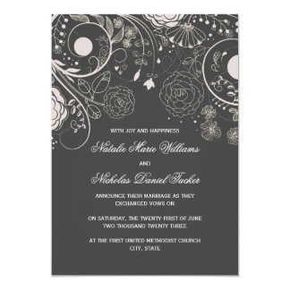 Floral Pattern Gray/White - Wedding Announcement