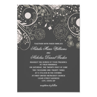 Floral Pattern Gray/White - Wedding Invitation