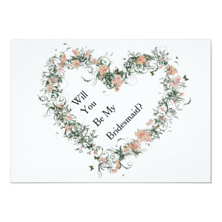 Floral Pattern Heart Will You Be My Bridesmaid Card