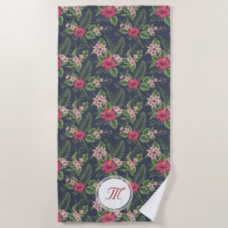 Floral Pattern Hibiscus Monogram Beach Towel